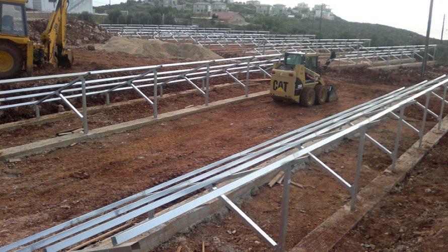 βάσεις φωτοβολταίκών Φ.Β. Πάρκο 100 KW στα Χανιά