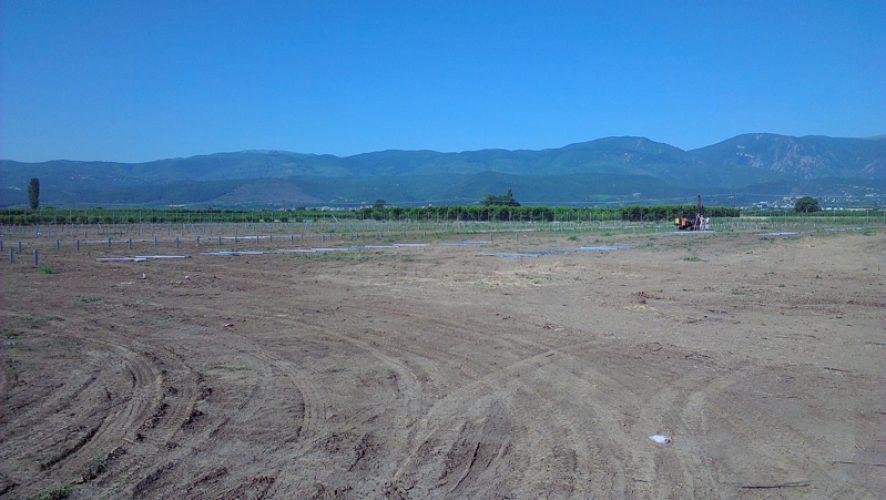 Πάρκο Φ/Β 500KW στα Μονόσπιτα Ημαθίας στη φάση της πασσαλόμπηξης